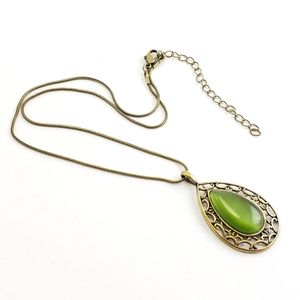 Vintage Pendant Necklace Green Stone + Brass